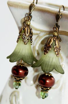 Floral Green Lilies, Chocolate Brown Pearls, Swarovski Crystals, Brass Ornate Drop Earrings  By Shalayne Originals