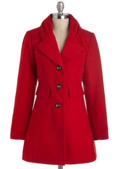I LOVE the collar on this coat!    Never Been Redder Coat, #ModCloth
