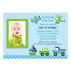 Boys Transportation Photo Birthday Invitations Baby Boy Themes 4th Ideas