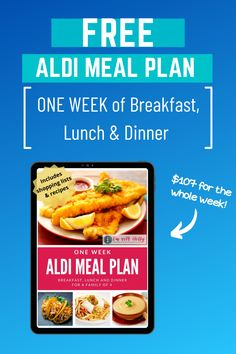 Take a break from meal planning and use our one week Aldi Meal Plan! Includes Breakfast, Lunch Aldi Meal Plan, Easy Meal Plans, Easy Meals, Low Budget Meals, Printable Menu, Dinner Options, One Week, Working Moms, Lunches And Dinners