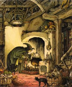 """A wonderful Witches den illustration by Philippe Fix from """"The Book of Giant Stories"""" by David L. Harrison"""