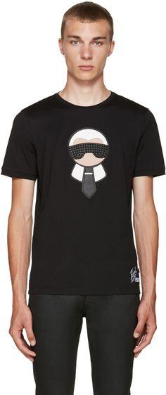 FENDI Black Karlito T-Shirt. #fendi #cloth #t-shirt