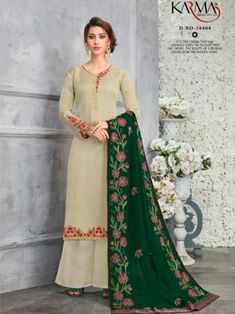 766f43b7ee Satin Georgette Embroidered Salwar Suit D.No 14400 - The Indian Fashion