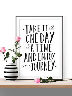 one day at a time print // inspirational print // by spellandtell