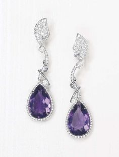 PHILLIPS : NY060110, , A Pair of Amethyst and Diamond Pendants
