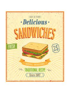 Vintage Sandwiches Poster Art Print at AllPosters.com