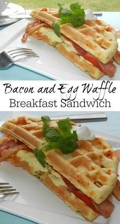 Delicious breakfast sandwich made with savory Smoked Cheese and Scallion Waffles, fluffy scrambled eggs and crispy bacon.