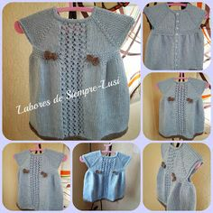 Labores de siempre: Vestido bebé en manga corta y abertura trasera Color Celeste, Dena, Baby Knitting Patterns, Hair Beauty, Summer Dresses, Stuff To Buy, Clothes, Tops, Women