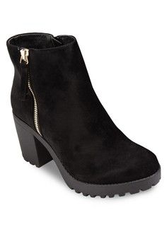Block Heel Ankle Boots from RIVER ISLAND in black_1