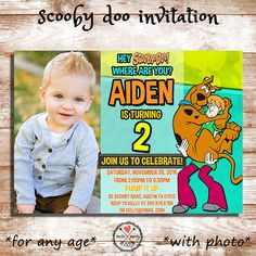 Scooby Doo Birthday Party Invitation Digital by PrettyPaperPixels