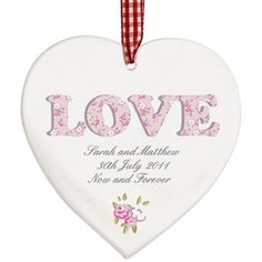 Personalised Floral Love Wooden Heart Shaped Decoration