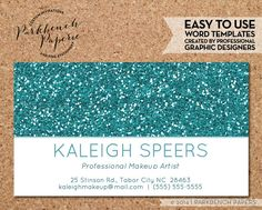 Business card template gold glitter diy editable word template business card template turquoise glitter diy editable word template instant download printable reheart Images