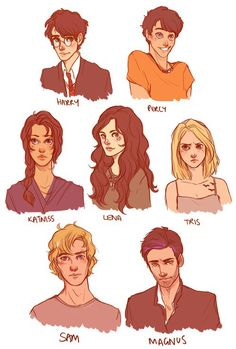 So harry potter, percy jackson, katniss everdeen, lena from beautiful creat Katniss Everdeen, Hunger Games, Gone Michael Grant, Oncle Rick, Science Fiction, Fandom Crossover, Heroes Of Olympus, Film Serie, Drawing People