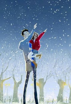Dad and Daughter - Illustration by Pascal Campion Pascal Campion, Family Illustration, Illustration Art, Winter Illustration, Anime Gifs, Timberwolf, Art Watercolor, Daddy Daughter, Winter Night