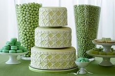 wedding cake & cake table: I hadn't thought of color coordinating with vases of candies before