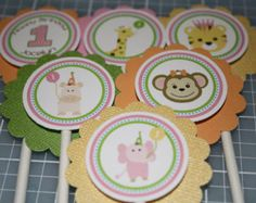 Zoo Party Pink Cupcake Toppers / Sweet Safari Cupcake Toppers / Sweet At One / Girls Zoo Toppers