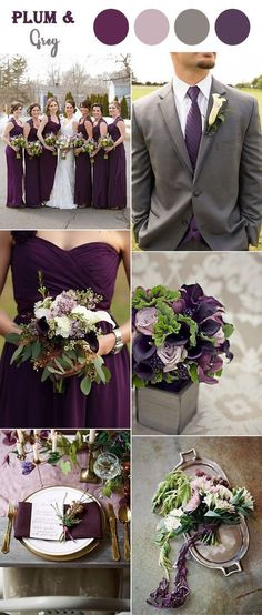 plum purple and warm grey fall wedding colors