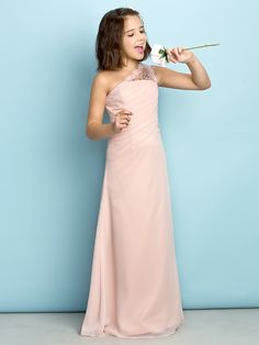 Floor-length Chiffon Junior Bridesmaid Dress - Pearl Pink Princess One Shoulder - USD $ 69.99