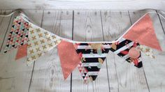 Bunting Banner 9 Penant Flags - Fabric - Mint, Coral, Gold - Party, Birthday, Nursery, Girl's Room Decor