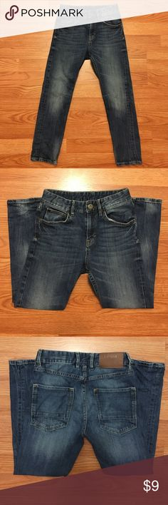 """H&M Boy's Tapered Distressed Jeans Sz 9-10 Hello, this is a very nice pair of boy's H&M jeans. They are in great condition! Size 9-10Y. Inseam 23"""". Tapered leg. Adjustable waist. Please send me any questions, thanks! H&M Bottoms Jeans"""