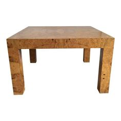 Burled Wood Parsons Coffee Table on Chairish.com