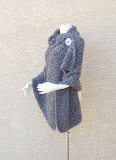 Handmade Hand Knit Shawl Cape Wrap Divinely by woodlandhandmaidens