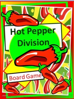 "Hot Pepper Division- Board Games- This game can be played with 2 to 4 players.     Included are several sets of cards over different skills that can be used to review one or more skills at a time. As well as 3 different boards.     Card sets included are:   ÷1/÷2   ÷3/÷4   ÷5/÷6   ÷7/÷8   ÷9/÷10   ÷11/÷12     Each set has a unique graphic for easier sorting if sets are mixed.    I have included some playing pieces and ""pouches"" to store each set of cards. Pouches have the unique graphic."