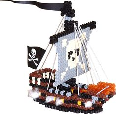 3D Perler Bead Pirate Ship and Treasure Chest Pattern