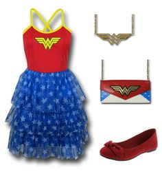 Wonder Woman Outfit by Mary.  Wallet: https://www.superherostuff.com/wonder-woman/wallets/wonder-woman-envelope-wallet-with-chain.html?itemcd=walletwwenvchain&utm_source=pinterest&utm_medium=social&utm_campaign=featuredoutfit Necklace: https://www.superherostuff.com/wonder-woman/necklaces/wonder-woman-symbol-cutout-necklace.html?itemcd=jewlneckwwcutout&utm_source=pinterest&utm_medium=social&utm_campaign=featuredoutfit Shoes: http://www.payless.com/womens-ainsley-flat/74223.html