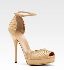 New Authentic Gucci Taryn Platform Pumps Sandal w/Ankle Strap,39.5/9.5, 283462