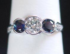 Three Stone bezel setting Rings | Three Stone Rings, Rings with Precious, Semi Precious Stones | BENSAL