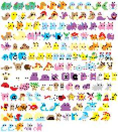 Generation I. by Lagomorphas. Pokemon, 8 Bit Art, Perler Bead Templates, Pixel Games, Geek Games, Perler Beads, Beading Patterns, Pixel Art, Game Art