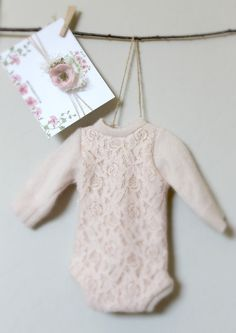 Newborn Peach Sweater Knit Lace Romper  Baby by PetuniaandIvy