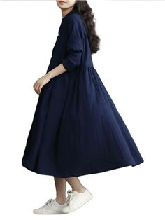 Women Cotton Linen Bat Sleeve Pure Color Long Dress Online - NewChic
