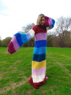 I don't know what occasion I could wear this but I do think it is neat. MADE to ORDER  SlouchyHand Knit Sweater  Fuzzy by EXTRAVAGANTZA
