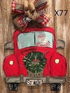 X77 - Santa Clause Truck Door hanger - Christmas Truck Decor - Christmas Door Hanger - Christmas Wreath Sign Christmas Truck, Christmas Signs, Rustic Christmas, Christmas Art, Christmas Holidays, Christmas Wreaths, Christmas Ornaments, Christmas Projects, Holiday Crafts