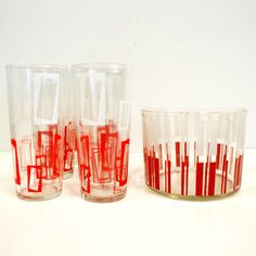 50s Geometric Glasses Set Of 6 now featured on Fab.
