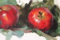 Original Oil Painting Four APPLES on canvas Gift by OliFineArt