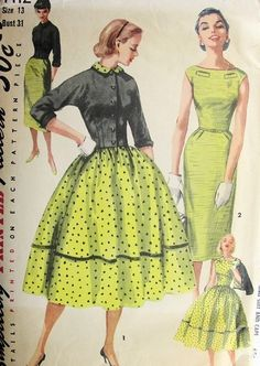 1950s SIMPLICITY PATTERN 1412 SLIM or FULL SKIRTED DRESS BATEAU NECKLINE, SHORTIE JACKET