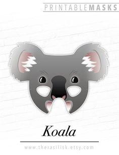 Koala Printable Australian Animal Mask, Koala Bear, Cute Masks for Kids, Birthday Party, Halloween, Costume, Marsupial, Koko, Photo Booth