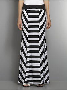 Striped Stretch Maxi Skirt