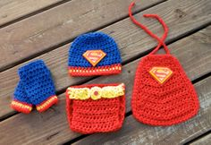 Handmade, Crochet Superman Super Hero Inspired Photo Prop For Newborn Photography, matching set with hat, diaper cover, leg warmers and cape...