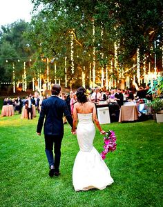 Deck out trees at your reception with these vertical light strands.