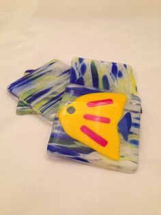 Fused Glass Coasters in blues and yellows  one by SassyGlassBySuzy