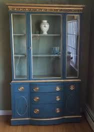 blue cabinets kitchen vintage reclaimed gray putty painted china cabinet 1722