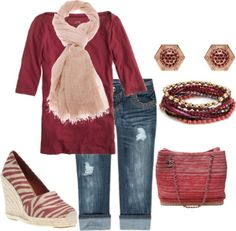 """Casual spring outfit"""" I can't wear the shoes but the rest is nice."""