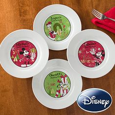 Ahh! Disney Christmas Gifts! LOVE THEM! These Disney® Season Of Wonder Personalized Ceramic Plates are so cute ... Personalization Mall has a whole collection of Disney gifts! #Disney