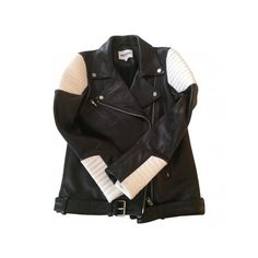 Pre-owned American Retro Biker Jackets ($413) ❤ liked on Polyvore featuring outerwear, jackets, moto jacket, rider jacket, white and black jacket, black and white motorcycle jacket and black and white leather jacket