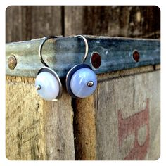 Simple Hammered Silver Blue Chalcedony Earrings by jenjems on Etsy, $28.00