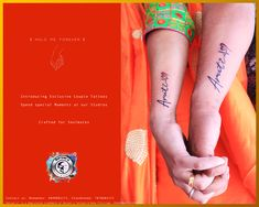 """""""Hold Me Forever"""" Those moment when you are in deeply in love with some one! Getting ink as your soulmate's name is a dedication, that deep love expressions, that """"chhoti chhoti baato me badi badi khushiyan"""" kind of feeling!! Express your Love, Do not hesitate to get inked for some one!! Show your Love!! Visit Studios to get beautiful ideas for Couple Tattoos! Spend your amazing moment with your soulmate! Getting ink together is an amazing experience! #Spreadlove #Loveart #artlover"""